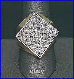 10K Men's Yellow Gold Kite Shaped Pinky Ring With 0.57CT Paved Diamonds