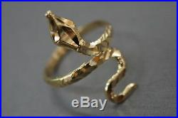 10K Solid Yellow Gold Diamond Cut Size 6.5 Snake Ring