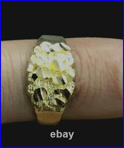 10K Yellow Gold Diamond Cut Oval Nugget Ring All Sizes