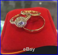 10K Yellow Gold His And Her Band Diamond Engagement Bridal Wedding Trio Ring Set