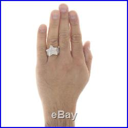 10K Yellow Gold Mens Baguette Diamond Tiered Star Shape Pinky Ring Band 1.16 CT