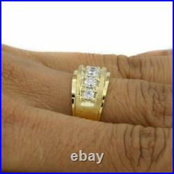 10K Yellow Gold Over 1.75 Ct Round Cut Diamond Five Stone Men's Engagement Ring