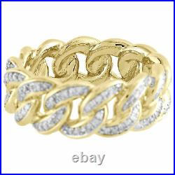10K Yellow Gold Over Diamond Miami Cuban Link 9mm Eternity Band Pinky Ring 2 Ct