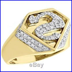 10K Yellow Gold Over Diamond Superman Logo Shield S Initial Pinky Ring Band