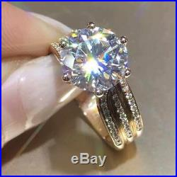 10k Real Yellow Gold Six Claw Solitaire Engagement Ring 3 ct Round Cut Diamond