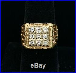 10k Yellow Gold. 63ct Diamond Mens Ring Solitaire 8.3g Size 7 Nugget Pinky Cuban