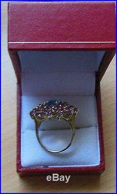 10kt Solid Yellow Gold Natural Blue Topaz & Amethyst Ring Size 7