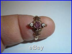 14K Gold Victorian 4.2mm African Ruby & 2 Bright 2.5mm Diamond Ring size 5 1/4