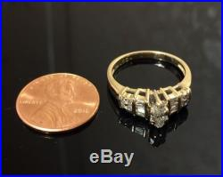 14K Solid Yellow Gold. 60tcw Marquise/ Baguette/ Round Natural Diamond Ring