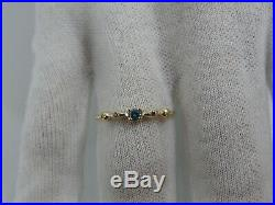 14K Solid Yellow Gold Blue and White Natural Diamond Vintage Antique Ring Size 7