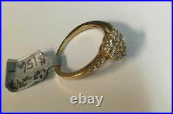 14K Solid Yellow Gold Over Ladies Round Cut Cubic Zirconia Cluster Heart Ring