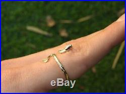14K Solid Yellow Gold Ring Model Natural Ruby Eyes Bendable Snake Cobra Size 8