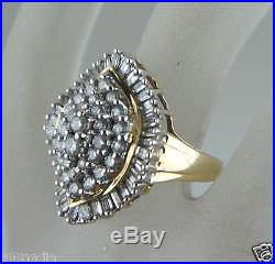 14k Yellow Gold 1,87 Tcw Cluster Cocktail Diamond Ring Size 7 Fab