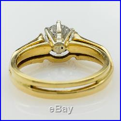 14K Yellow Gold 0.80ct Diamond Solitaire & Emerald Accented Ring Jacket Size 6