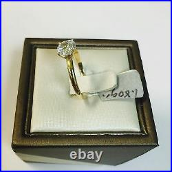 14K Yellow Gold Classic Round Cut CZ Solitaire Engagement Ring 6.5mm (1 Carat)