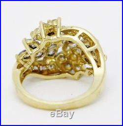 14K Yellow Gold Flower Inspired Round & Marquise Diamond Cluster Ring Size 5