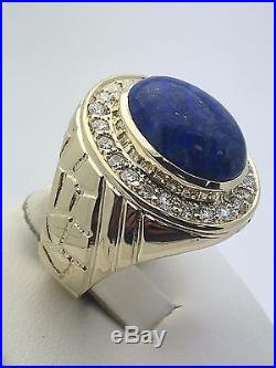 14K Yellow Gold Genuine Oval Lapis Cabochon Ring with Diamonds Size 9.5, 14.6 g