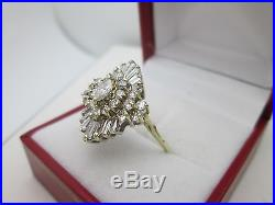 14K Yellow Gold Marquise Round Baguette Diamond Cocktail Ring 2CT