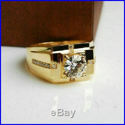 14K Yellow Gold Over 2.15 Ct Round Diamond Solitaire Men's Engagement Ring