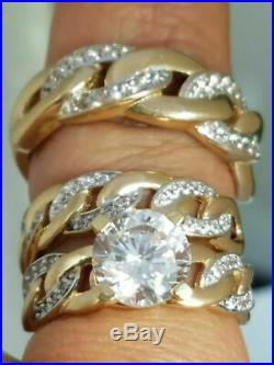 14K Yellow Gold Over 3 Ct Round his hers Trio Engagement Wedding Band Ring Set