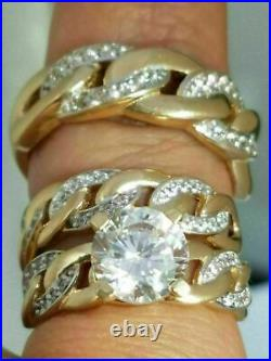 14K Yellow Gold Over 3 Ct Round his & hers Trio Engagement Wedding Band Ring Set