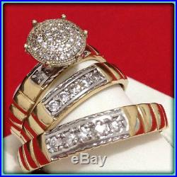 14K Yellow Gold Over Diamond His And Her Engagement Ring Wedding Band Trio Set