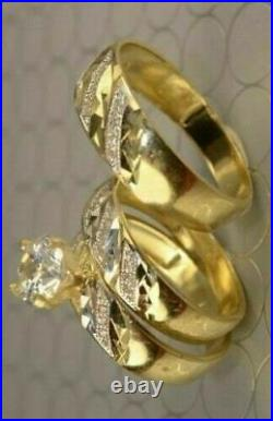14K Yellow Gold Over Diamond Trio His And Her Bridal Wedding Engagement Ring Set
