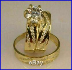 14K Yellow Gold Over Diamond Trio His & Her Bridal Wedding Engagement Ring Sets