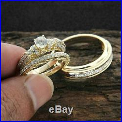 14K Yellow Gold Over Diamond Wedding Trio Set His & Her Bridal Engagement Ring