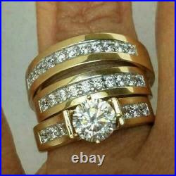 14K Yellow Gold Over Round Diamond His-Her Trio Ring Set Engagement Wedding Band