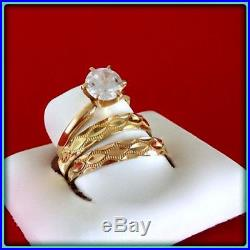 14K Yellow Gold VVS1 Diamond His And Her Engagement Ring Wedding Band Trio Set