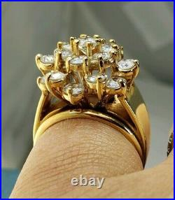14k Natural Mined Diamond 2.5TCW 3TCW Cocktail Cluster Ring Solid Yellow Gold