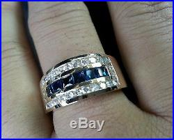 14k Solid Yellow Gold Mens Men's Natural Diamond & Blue Sapphire Ring 1.78 ct