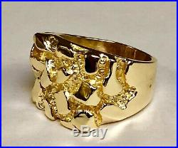 14k Solid Yellow Gold Nugget Design Fashion Men's Ring 22 grams