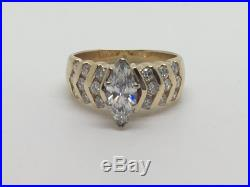 14k Yellow Gold 1.25tcw Marquise And Round Diamond Ring Size 6.5