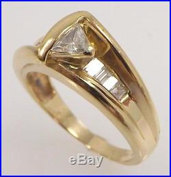 14k Yellow Gold 1/2 Cttw Genuine Trillion Diamond Solitaire Band Ring Size 5.75