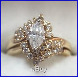 14k Yellow Gold 1 Carat Diamond Marquise Solitaire Engagement Wedding Ring 6 3/4