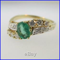 14k Yellow Gold Emerald and Diamond Accent Ring Size 8 1/2