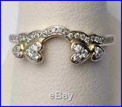 14k Yellow Gold Fn 2 Ct Diamonds Heart Solitaire Wrap Ring Guard Enhancer Jacket