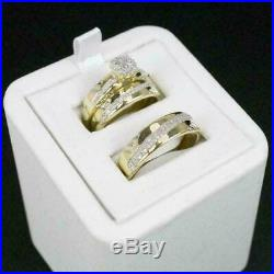 14k Yellow Gold Fn Trio Ring Set His And Hers Diamond Engagement Bridal Wedding