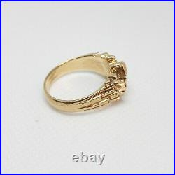 14k Yellow Gold Mens Unique Nugget Ring With Diamond Size 11