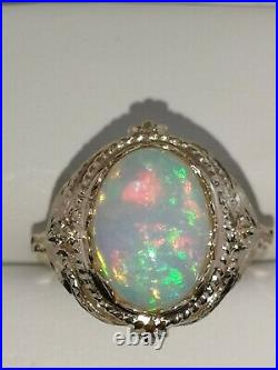 14k Yellow Gold Natural Oval Ethiopian 3.29ct Opal Ring 6.1g Size 8.5