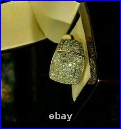 14k Yellow Gold Over 2.50 CT Diamond Pinky Ring Men's Round Cut Engagement Band