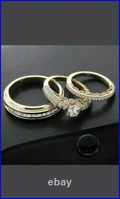 14k Yellow Gold Over Diamond Wedding His & Her Trio Set Bridal Engagement Ring