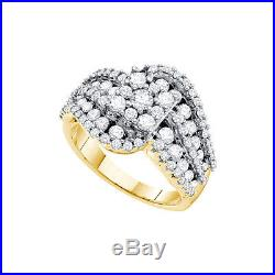14k Yellow Gold Round Diamond Flower Cluster Womens Large Fashion Ring Band WG