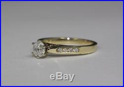 14k Yellow Gold White Round Diamond Solitaire With Assets Engagement Ring Size 5