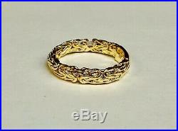 14kt Yellow Gold Byzantine Design Fashion Band Ring 2 grams 4 MM size 7