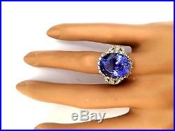 15.03ctw Natural Tanzanite And Diamond Ring In 14k Yellow Gold
