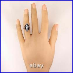 1870's Antique Victorian 10k Yellow Gold Agate Cameo Ring