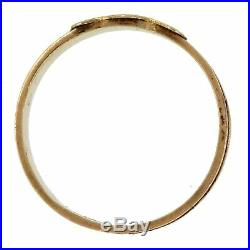 1870s Antique Victorian 14K Gold Engraved Mother Braid Hair Mourning Band Ring